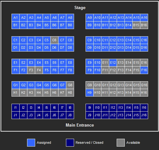 Catacombz 25 Seatmap