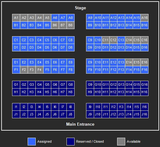 Catacombz 26 Seatmap